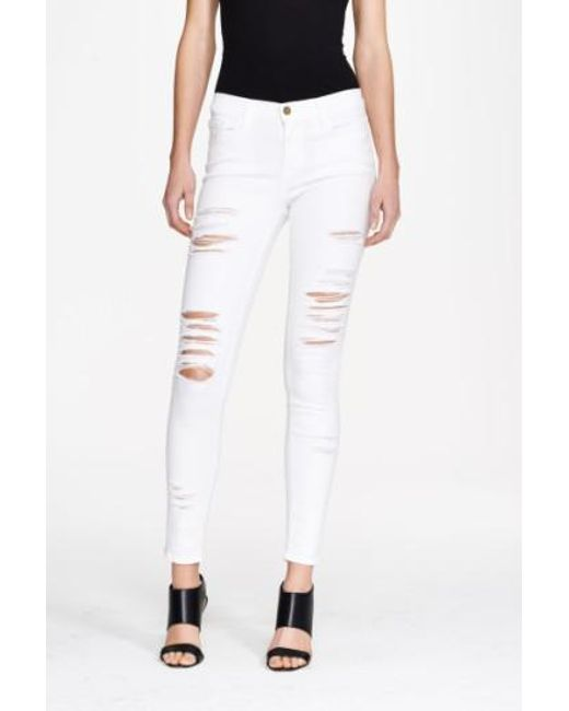 FRAME - White Le Color Rip Skinny Jeans - Lyst