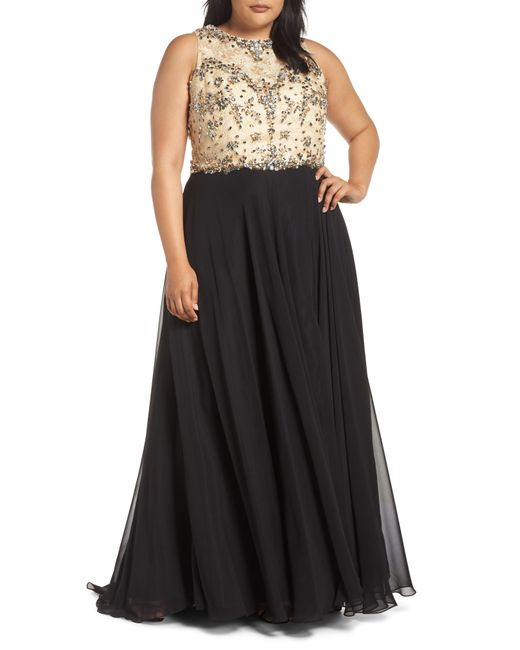 Mac Duggal - Black Beaded Illusion Neck Ballgown - Lyst