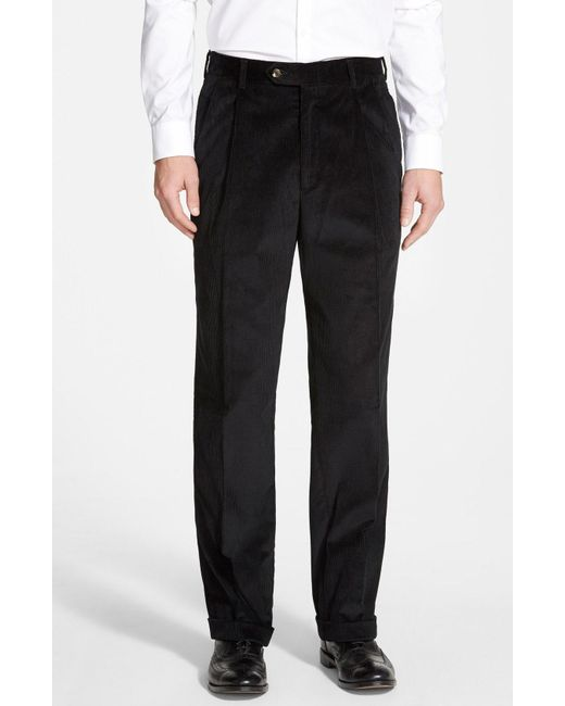 Berle - Blue Pleated Corduroy Trousers for Men - Lyst
