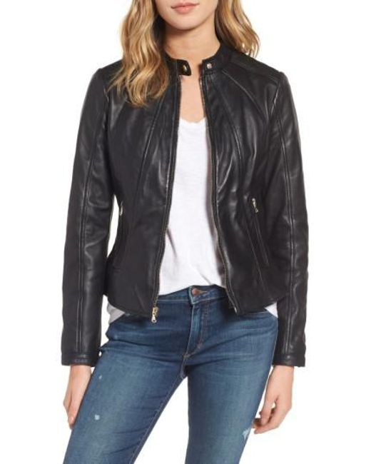 Guess | Black Collarless Leather Moto Jacket | Lyst