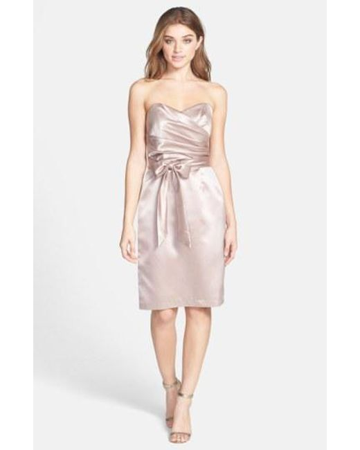 Dessy Collection - Pink Cross Draped Strapless Satin Sheath Dress - Lyst