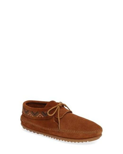 Minnetonka | Brown Mosaic Embroidered Moccasin for Men | Lyst