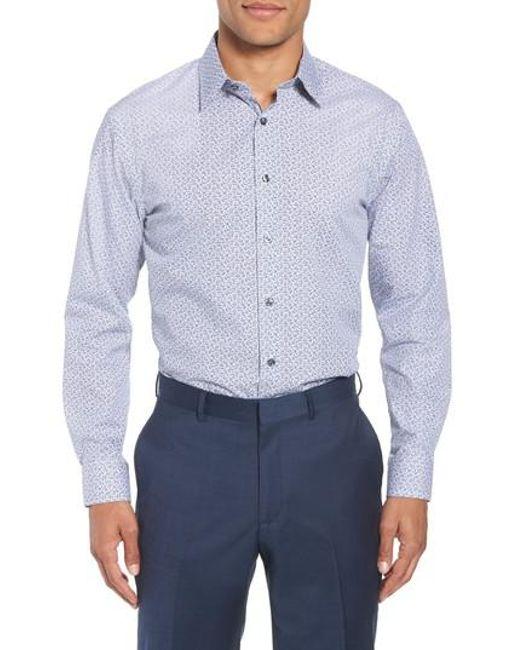 Nordstrom - Blue Trim Fit Floral Dress Shirt for Men - Lyst