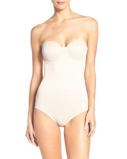 Tc Fine Intimates   Natural Strapless Shaper Bodysuit   Lyst