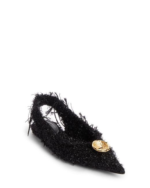 Balenciaga - Black Tweed Pointy Toe Slingback Flat - Lyst