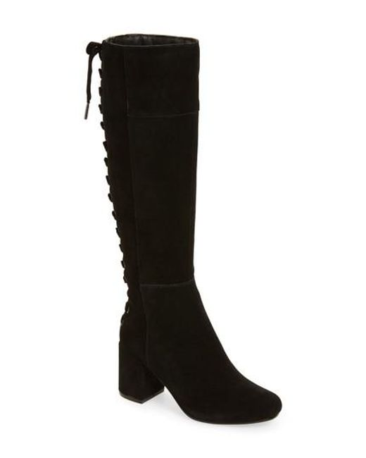 Very Volatile | Black Wynter Lace Up Knee High Boot | Lyst