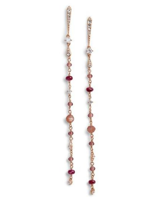 Nadri | Pink Crystal & Semiprecious Stone Drop Earrings | Lyst