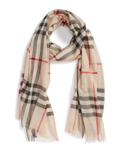 Burberry - Purple Giant Check Print Wool & Silk Scarf - Lyst