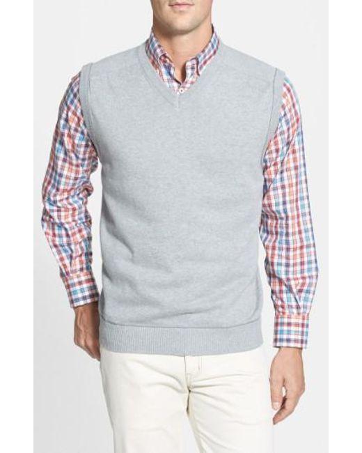 Cutter & Buck - Gray 'broadview' V-neck Sweater Vest for Men - Lyst