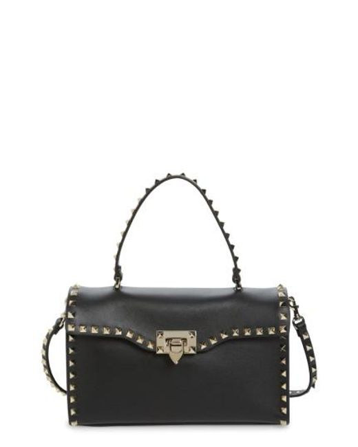 Valentino | Black Small Rockstud Leather Top Handle Satchel | Lyst