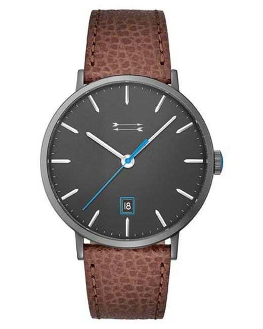 Uri Minkoff - Gray Norrebro Leather Strap Watch for Men - Lyst