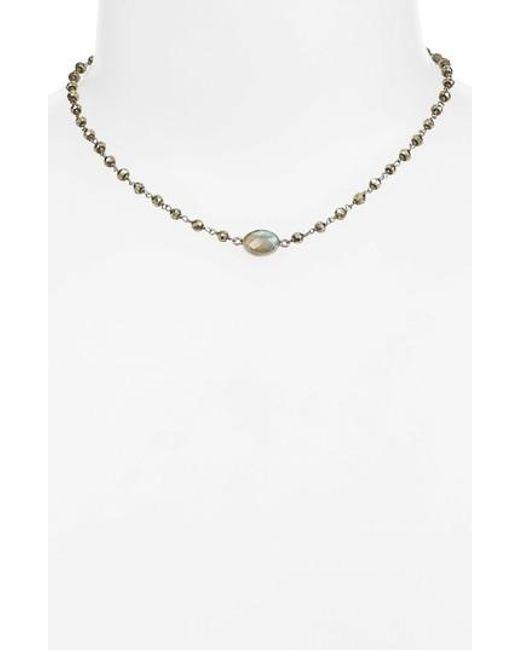 Ela Rae | White Libi Semiprecious Stone Collar Necklace | Lyst