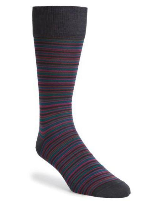 Calibrate | Blue Stripe Mercerized Socks for Men | Lyst