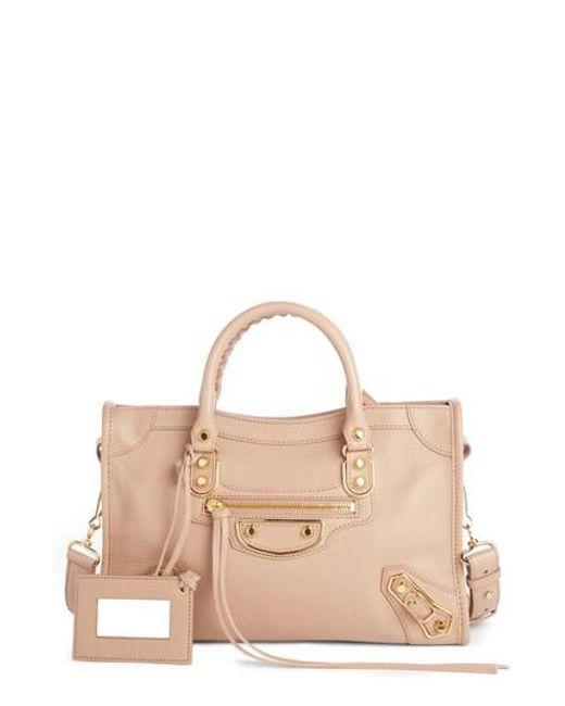 Balenciaga - Pink Metallic Edge City Goatskin Leather Tote - Lyst