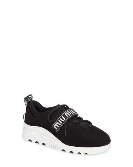 0e0a78797cd6 Miu Miu Logo Strap Platform Sneaker in Black - Lyst