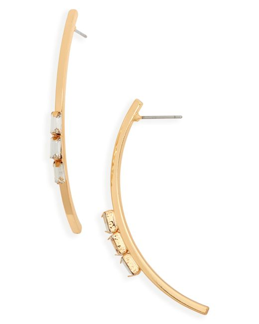 Panacea - Metallic Curved Crystal Earrings - Lyst