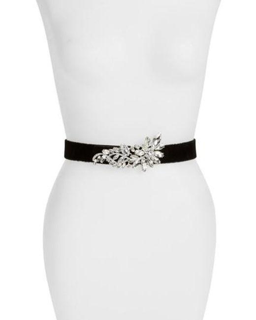 Deborah Drattell | Black Rosmina Crystal Embellished Velvet Belt | Lyst