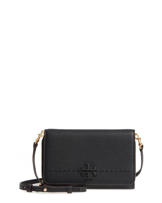 Tory Burch - Black Mcgraw Flat Leather Wallet Crossbody - Lyst