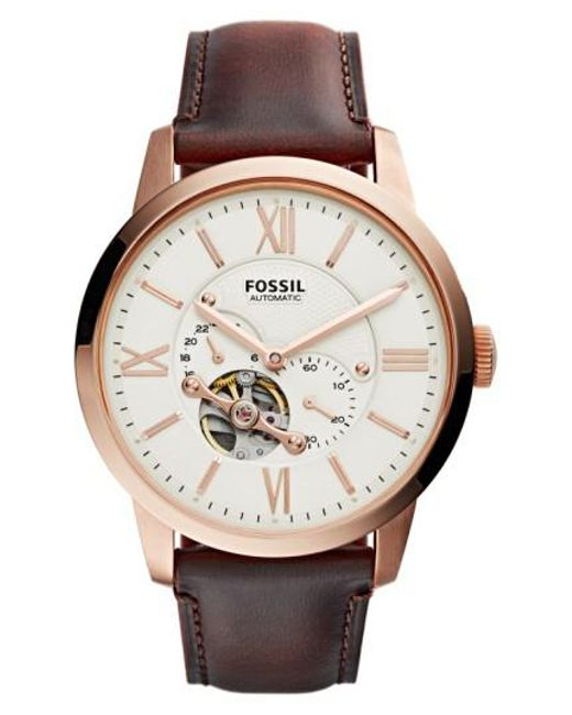 Fossil | Pink 'townsman' Automatic Leather Strap Watch for Men | Lyst