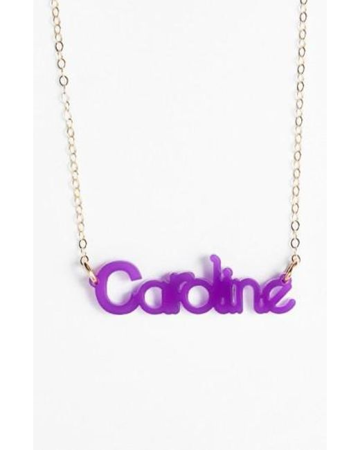 Moon & Lola | Purple 'zebra Block Font' Personalized Nameplate Pendant Necklace | Lyst