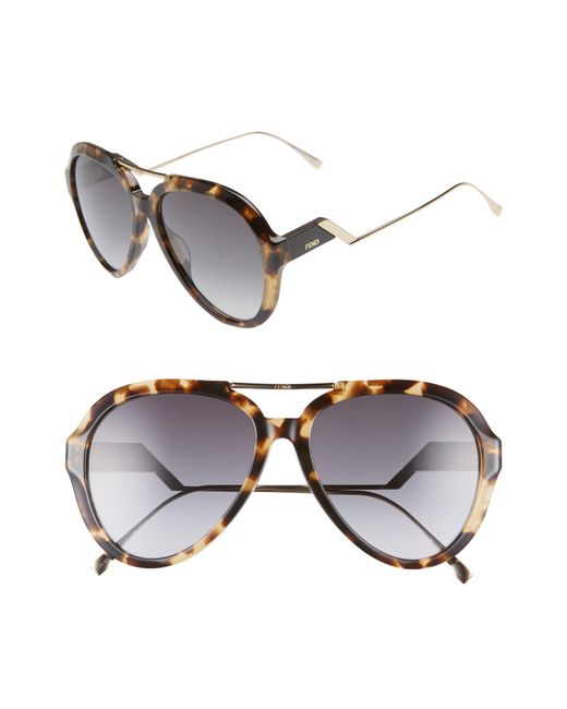 Fendi - Multicolor 58mm Aviator Sunglasses - - Lyst