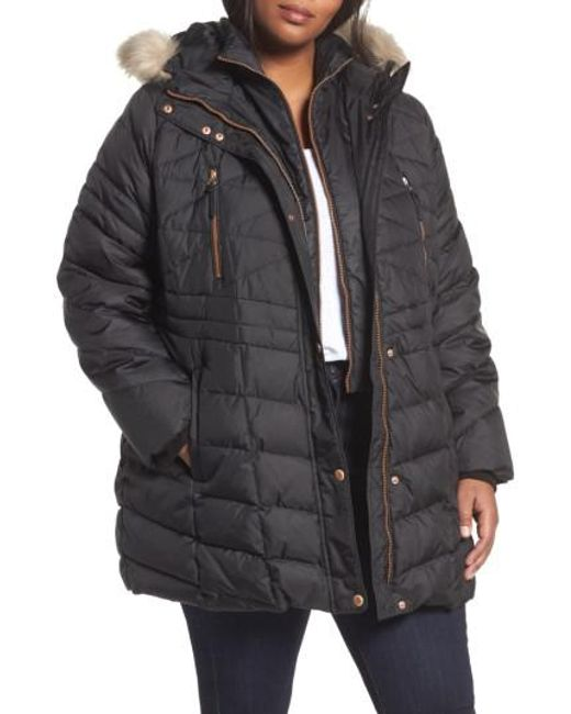 Andrew Marc   Black Marley Down Coat With Detachable Faux Fur   Lyst