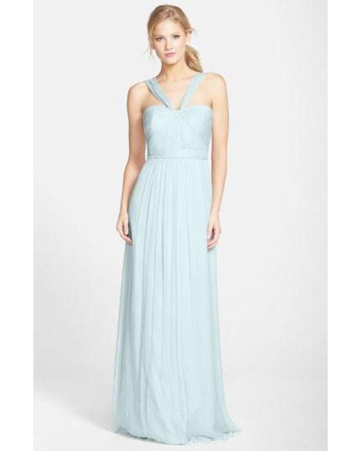 Amsale - Blue X-strap Silk Chiffon Gown - Lyst