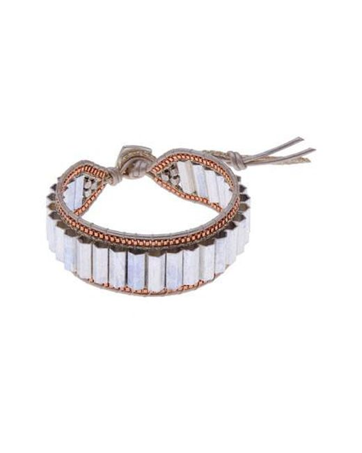 Nakamol Adjustable Beaded Crystal and Leather Bracelet zr5NBUfsSf