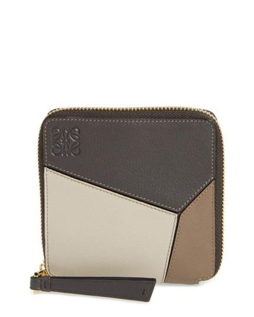 Loewe - Brown Denim Puzzle Colorblock Leather French Wallet - Lyst