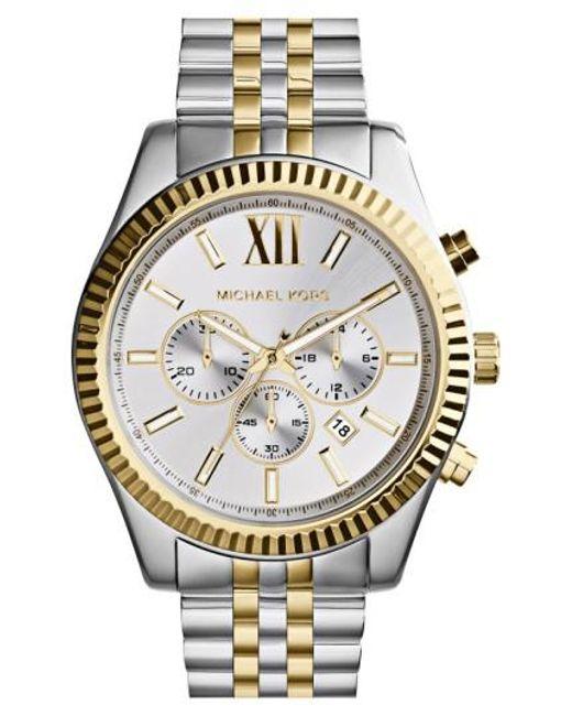 Michael Kors   Metallic Large Lexington Chronograph Bracelet Watch   Lyst