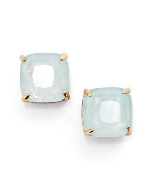 Kate Spade | Blue Mini Small Square Semiprecious Stone Stud Earrings | Lyst