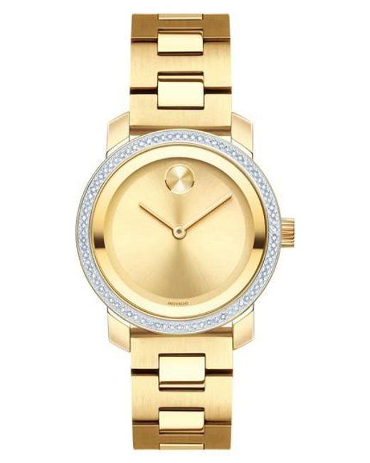 Movado - Metallic Bold Diamond Bezel Bracelet Watch - Lyst
