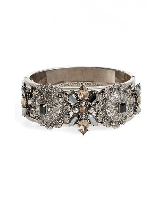 Alexander McQueen | Metallic Jeweled Hinge Cuff | Lyst