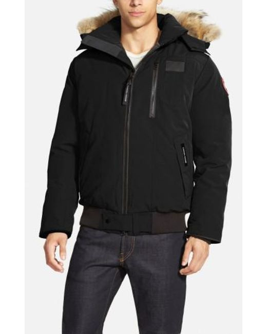 Canada Goose   Black 'borden' Regular Fit Bomber Jacket With Genuine Coyote Trim for Men   Lyst