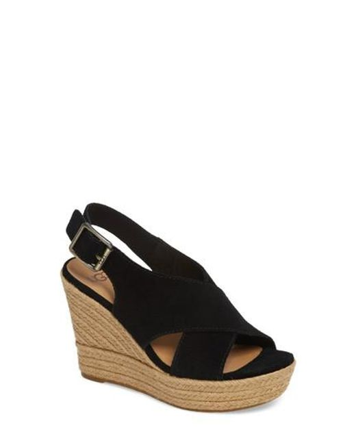 Browse Cheap Price Amazon For Sale UGG Harlow Black Suede Wedge Sandal Cheap Sale Brand New Unisex Online Sale Online UAYFS
