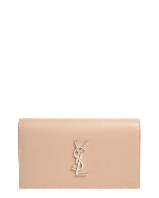 Saint Laurent - Gray 'monogram' Leather Clutch - Lyst