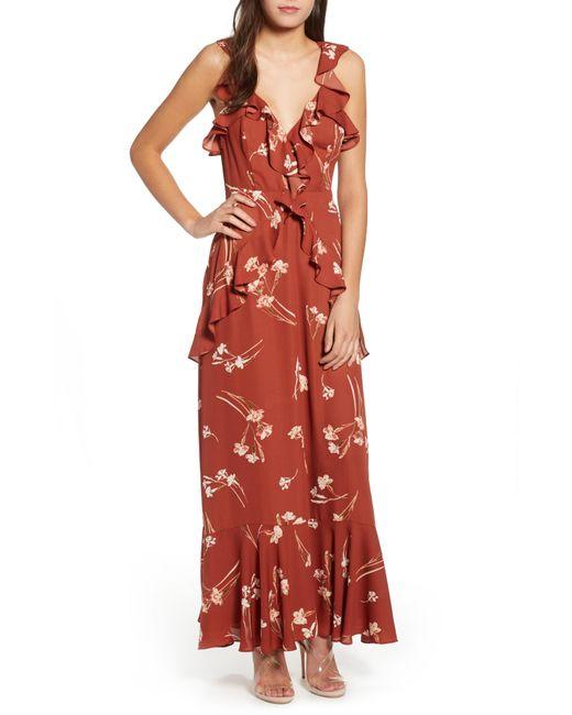 Astr - Red Sleeveless Ruffle Maxi Dress - Lyst