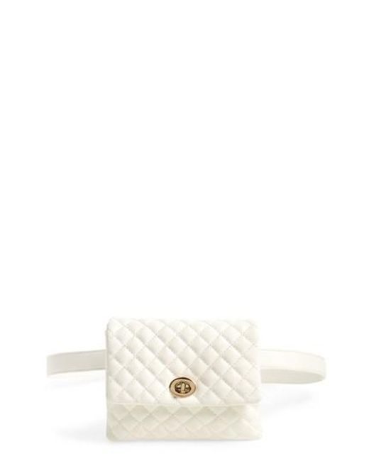 MALI AND LILI - White Mali + Lili Quilted Vegan Leather Convertible Belt Bag - Lyst