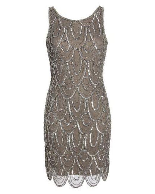 Pisarro Nights - Natural Embellished Mesh Sheath Dress - Lyst