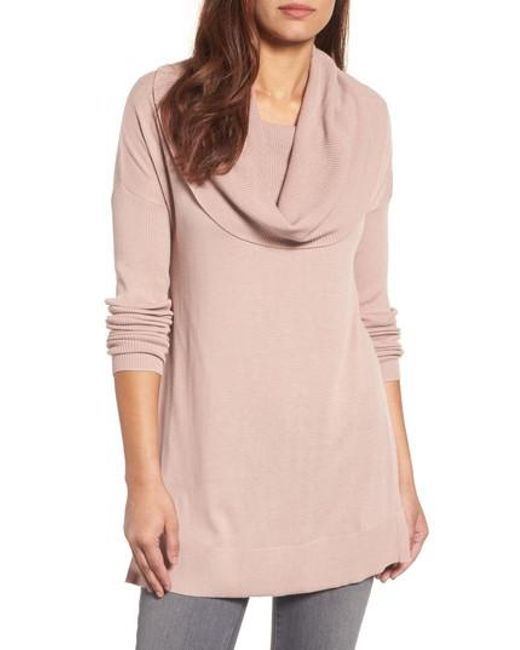 Caslon | Gray Caslon Side Slit Cowl Neck Tunic | Lyst