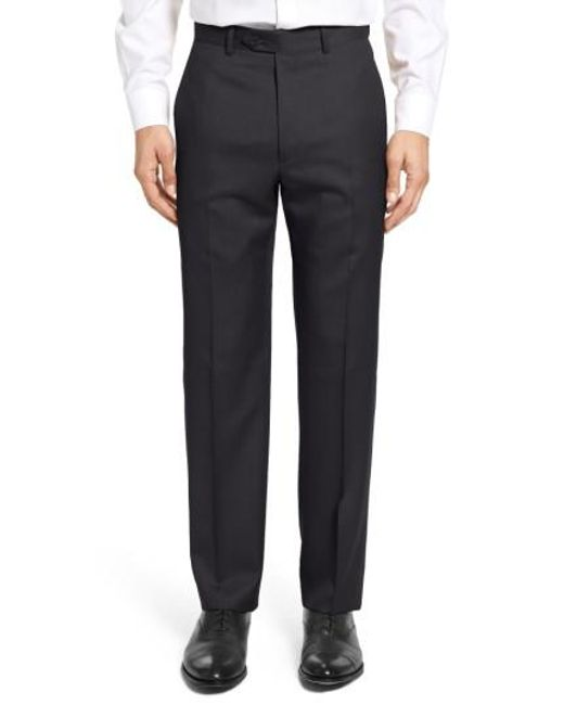 Santorelli - Black Flat Front Twill Wool Trousers for Men - Lyst