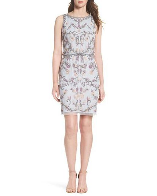 Adrianna Papell - White Embellished Blouson Cocktail Dress - Lyst