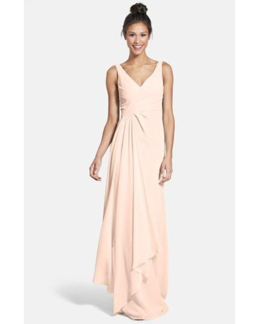 Monique Lhuillier Bridesmaids | Pink Sleeveless V-neck Chiffon Gown | Lyst