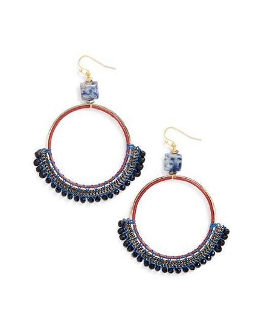 Nakamol   Blue Bachubai Crystal & Chain Hoop Earrings   Lyst
