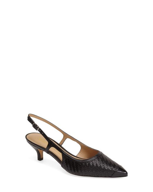 Trotters - Black 'kimberly' Woven Leather Slingback Pump - Lyst