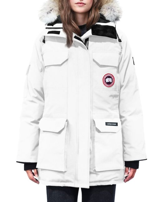 Canada Goose - Red Expedition Hooded Down Parka With Genuine Coyote Fur Trim - Lyst