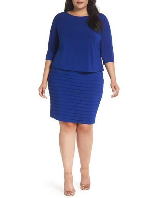 Adrianna Papell - Blue Shutter Pleat Popover Sheath Dress - Lyst