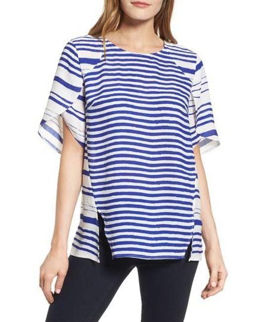 Chaus | Blue Tulip Sleeve Stripe Blouse | Lyst