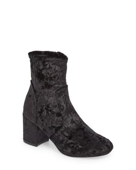 Very Volatile - Black Eclipse Velvet Sock Bootie - Lyst