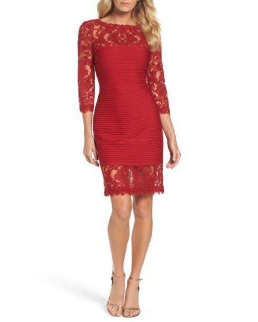 Tadashi Shoji | Red Illusion Pintuck Sheath Dress | Lyst